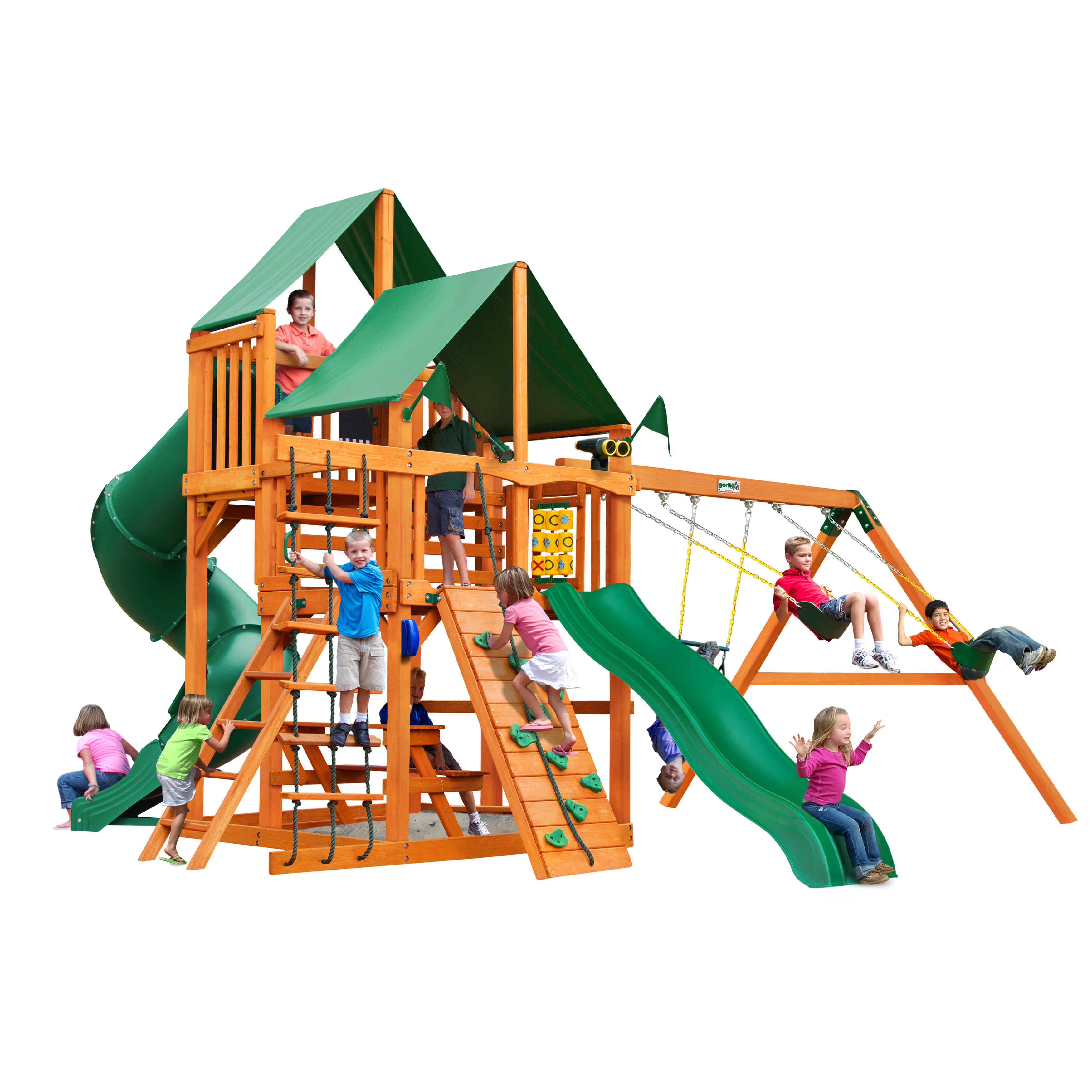 Gorilla Playsets Chateau Cedar Swing Set with Green Vinyl Canopy and Natural Cedar Posts