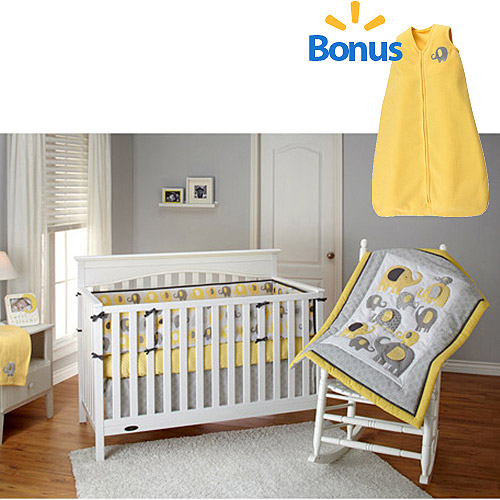 Little Bedding by NoJo Yellow Elephant Time 4-Piece Crib Bedding Set w/BONUS Wearable Blanket