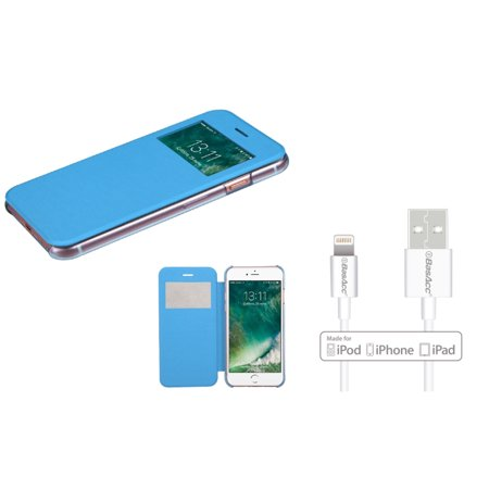 Insten Ultra Slim Fit Leather Case Cover with Window For iPhone 7 - Blue (+ 6ft Apple Certified Lightning to USB (Teknic Lightning Leather)