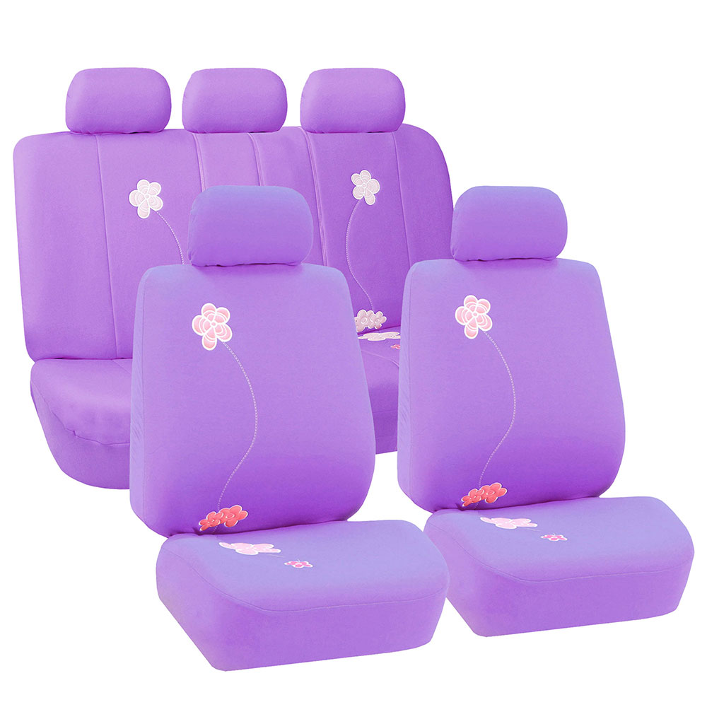 FH Group Floral Embroidery Design Airbag Compatible and Split Bench Seat Covers, Purple