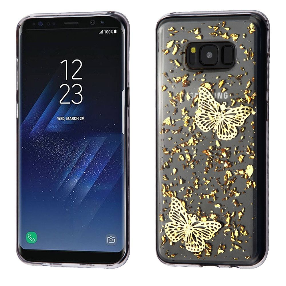 Insten Butterflies 3D Glitter (T-Clear) Krystal Gel Series TPU Candy Skin Case For Samsung Galaxy S8 - Gold/Clear (Bundle with USB Type C Cable)