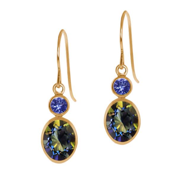 2.14 Ct Oval Blue Mystic Topaz Blue Tanzanite 14K Yellow Gold Earrings