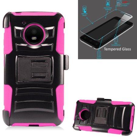 For Motorola Moto E4 Case / Moto E 4 XT1767 Case + Tempered Glass Advanced Armor Hybrid Soft Silicone Cover Stand w/ Holster (Black/Pink)