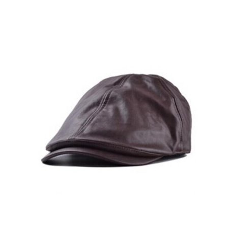 Leather Newsboy Hat (Men's Leather Ivy gentleman Cap Bonnet Newsboy Beret Cabbie Gatsby Flat Golf)