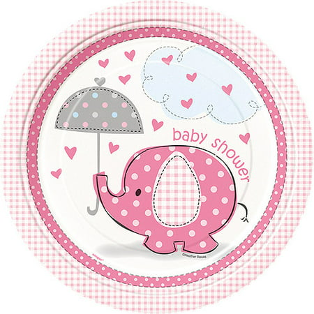 Pink Elephant Baby Shower Paper Dinner Plates, 9in, - Girl Baby Shower Tableware