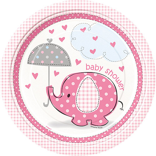 Elephant Baby Shower Plates, 9 in, Pink, 8ct