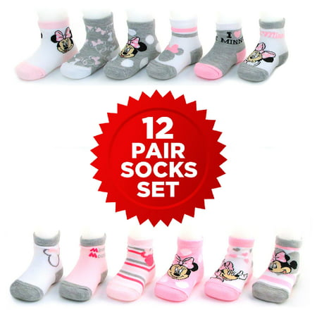 Disney Minnie Mouse 12 Pair Assorted Color Socks Set, Baby Girls, Age 0-24M for $<!---->