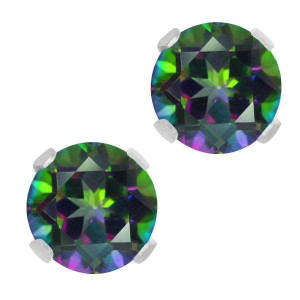 2.00 Ct Green Mystic Topaz 10K White Gold Stud Earrings 6MM