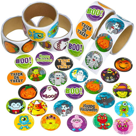 Halloween Sticker Roll for Kids - 500 Pcs Assorted Spooky Sheets - Party Favors, Game Prizes Giveaways, Novelty Toys, Wall Decals, Creative Scrapbooks, Personalized Arts and Crafts - Halloween Arts And Crafts 3rd Grade