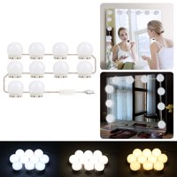 EEEkit Vanity Mirror Light Kit for Makeup Hollywood Style with 10 LED Mirror Lights Bulbs, Brightness Dimmable, 3 Color Modes, US Plug, Mirror Not Included