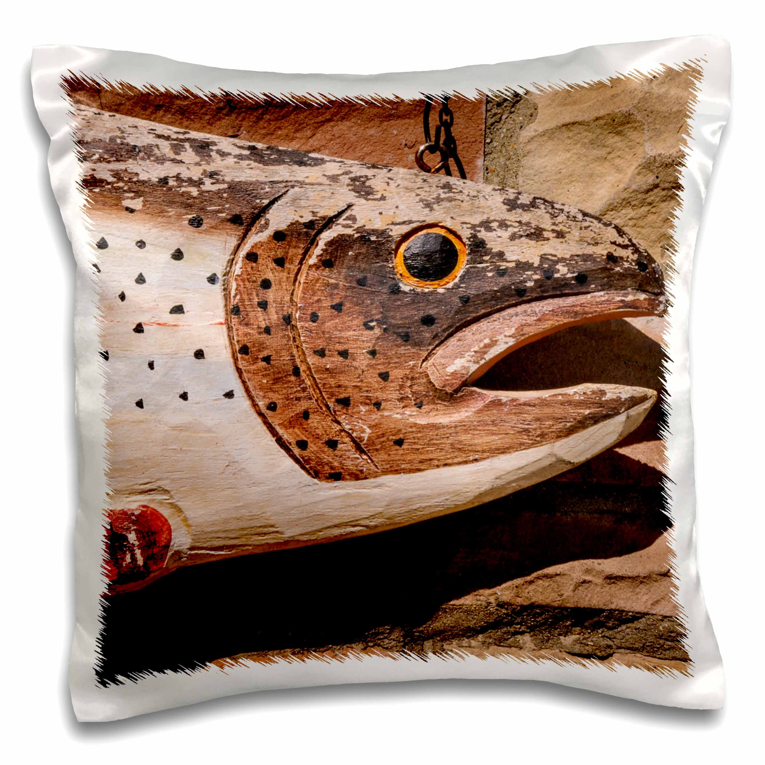 3dRose USA, New Jersey, Califon, Shannons Fly and Tackle Shop, painted trout. - Pillow Case, 16 by 16-inch