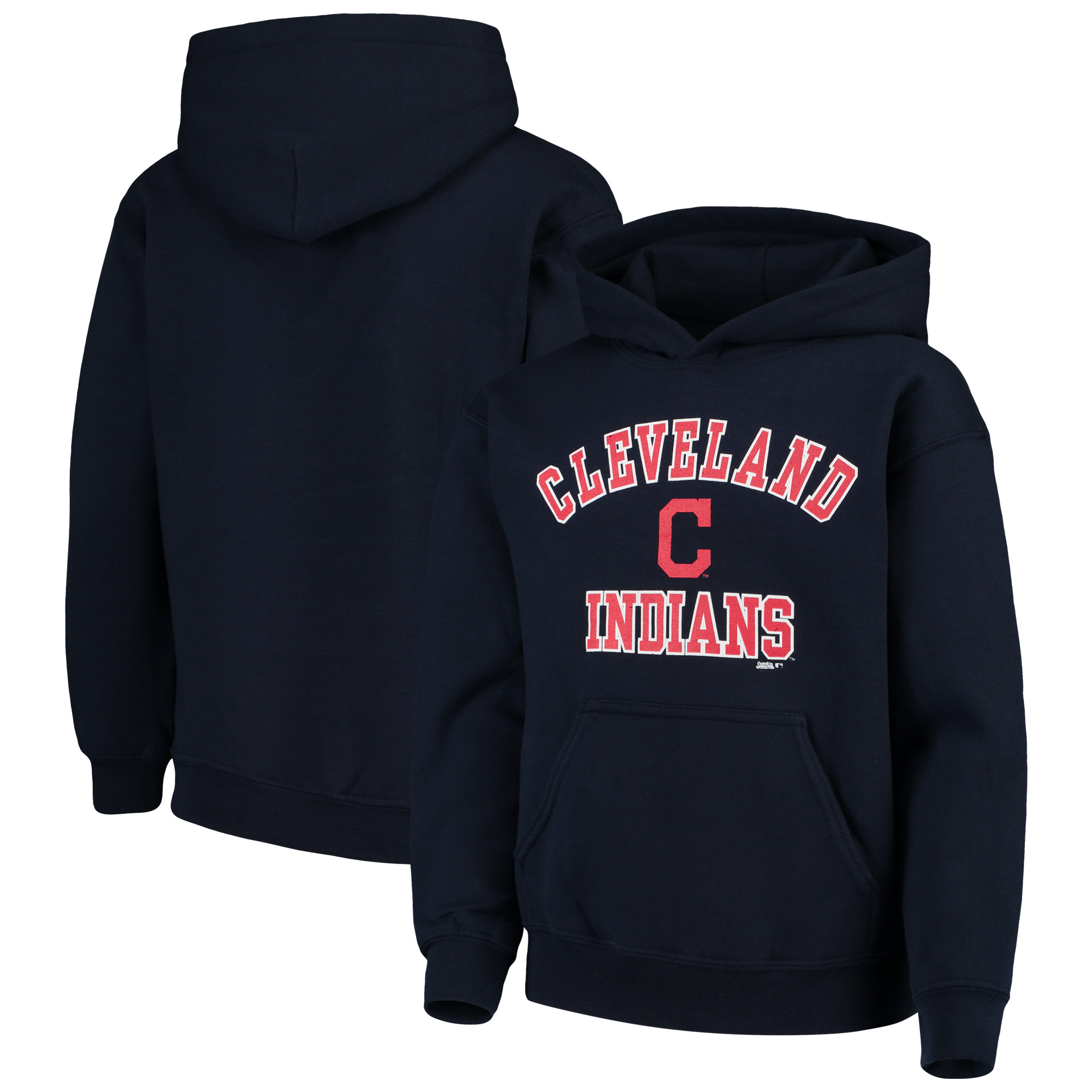 Cleveland Indians Stitches Youth Fleece Pullover Hoodie - Navy
