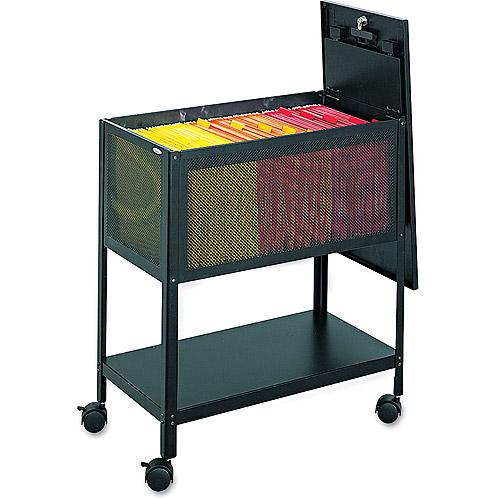 Safco Steel Mesh Tub File w/Lid, 13-1/2w x24-1/4d x 27-1/2h, Black
