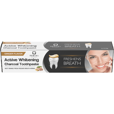 Activated Charcoal Teeth Whitening Toothpaste DESTROYS BAD BREATH - Best Natural Black Tooth Paste Kit - Herbal Decay Treatment - REMOVES COFFEE STAINS - GINGER FLAVOR - 105g