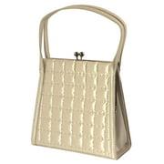 White Stitched Lattice Pattern Evening Bag - Satin Kiss-lock Clasp Shoulder Bag for Women PS4140IVYS