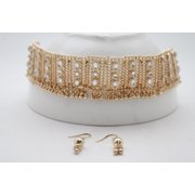Women Shiny Gold Metal Going Out Set Choker Short Necklace Silver Bling