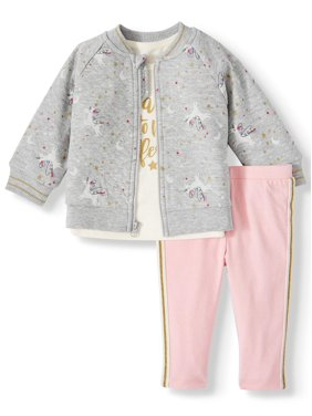 Wonder Nation Quilted Jacket, T-shirt, & Pants, 3pc Outfit Set (Baby Girls)