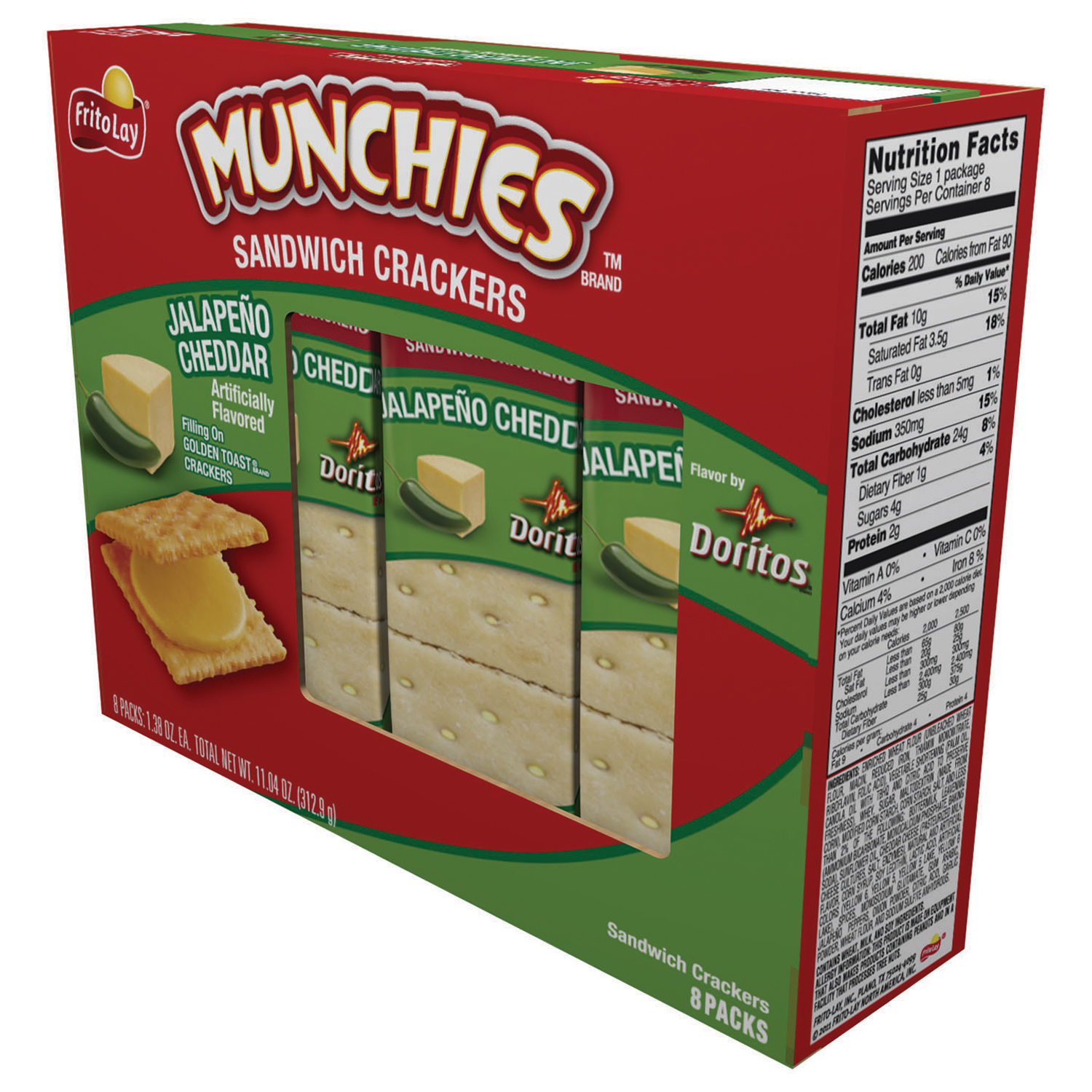 Munchies Jalapeno Cheddar Sandwich Crackers, 8 Packs