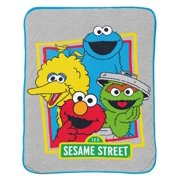 "Sesame Street 46"" x 60"" Multicolor Plush Microfiber Throw, Machine Washable"