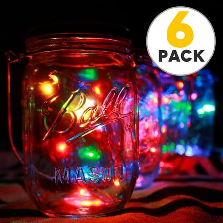 6pcs Solar Mason Jar Lid Lights, 10 Led String Fairy Star Firefly Jar Lids Lights, Perfect for Mason Jar Decor, Patio Garden Decor Solar Laterns Table - Mason Jar Table Decor