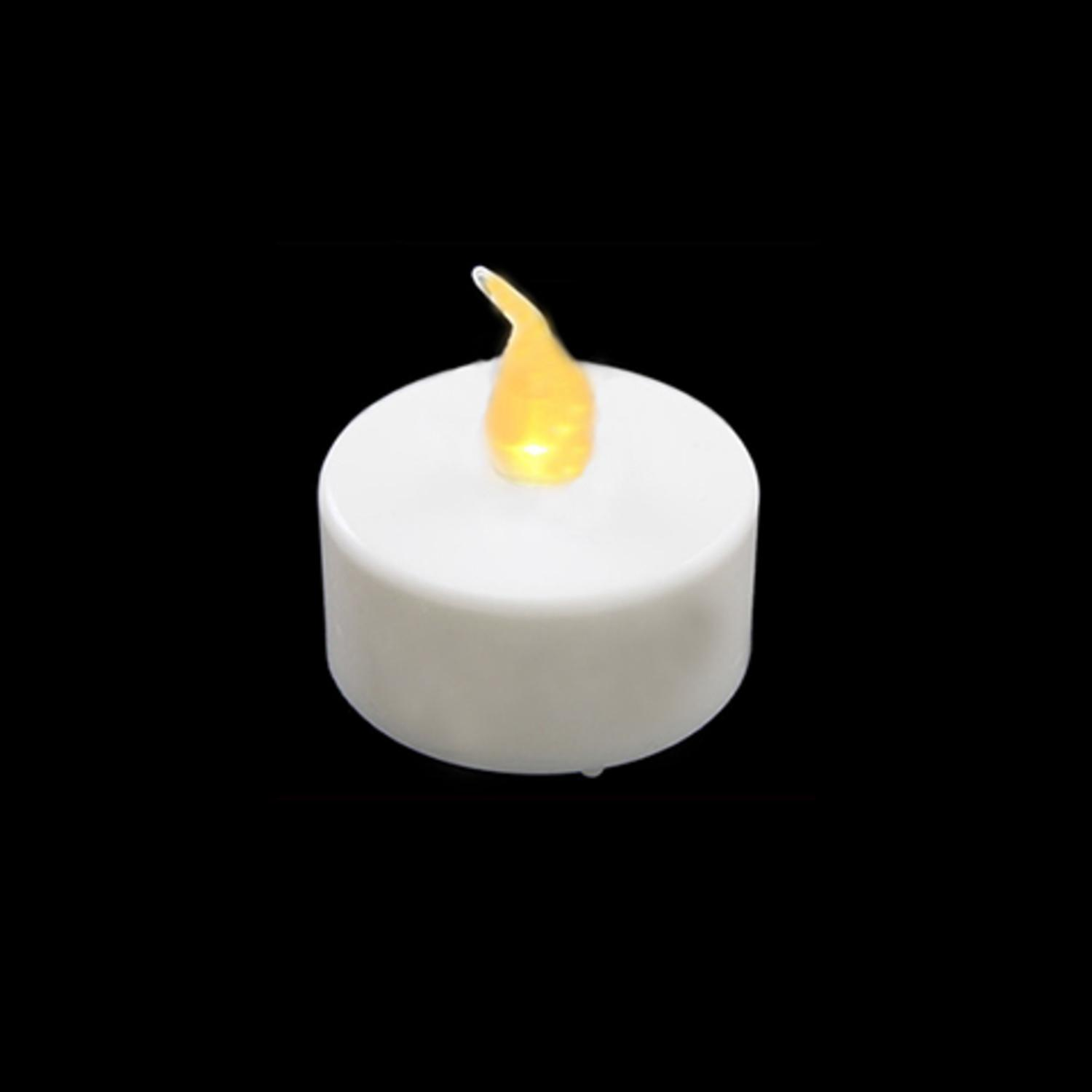 Pack of 4 LED Lighted Battery Operated Flicker Flame White Christmas Tea Light Candles