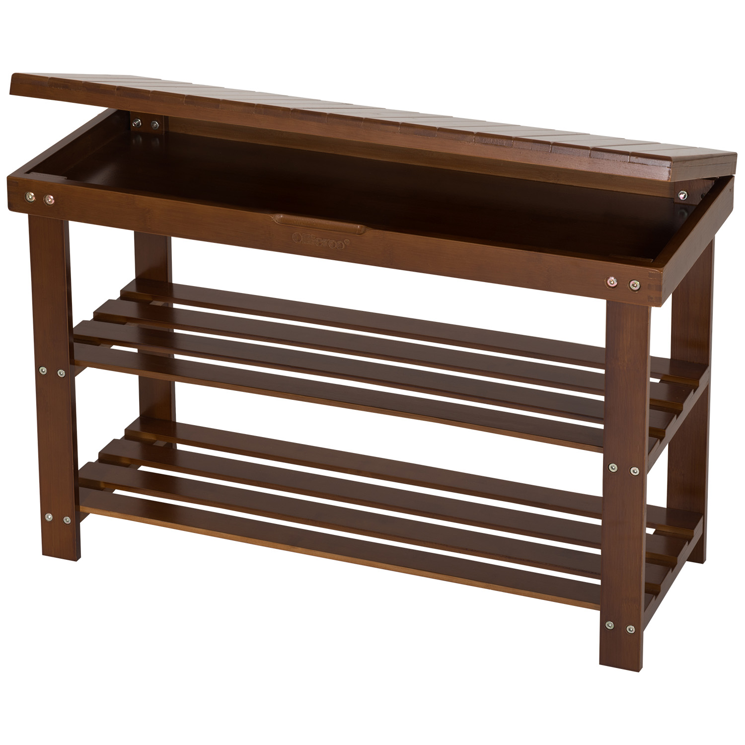 Ollieroo Shoe Rack 2 Tier Natural Bamboo Shoe Bench Organizer, Foot Stool Storage Drawer on Top (Amber)