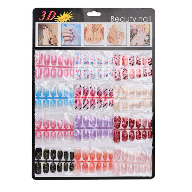 144pcs Mixed Colorful Set False Nail Tips Artificial Fake Nails Art Acrylic Manicure Gel