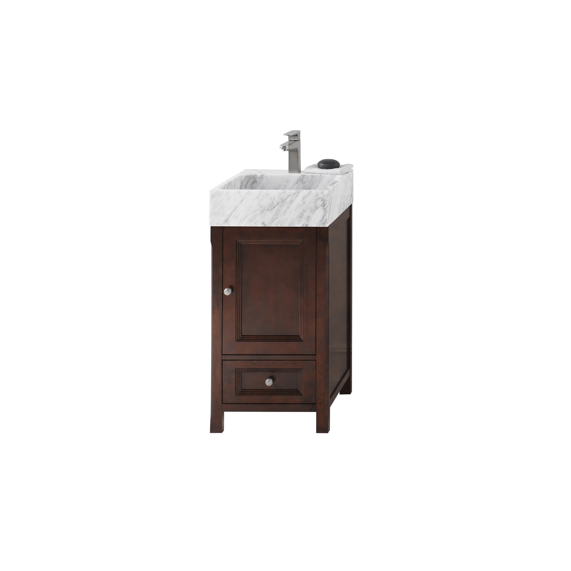 Etonnant Ronbow Juliet Vintage Walnut 18 Inch Bathroom Vanity Set With White Carrara  Marble Vessel Bathroom