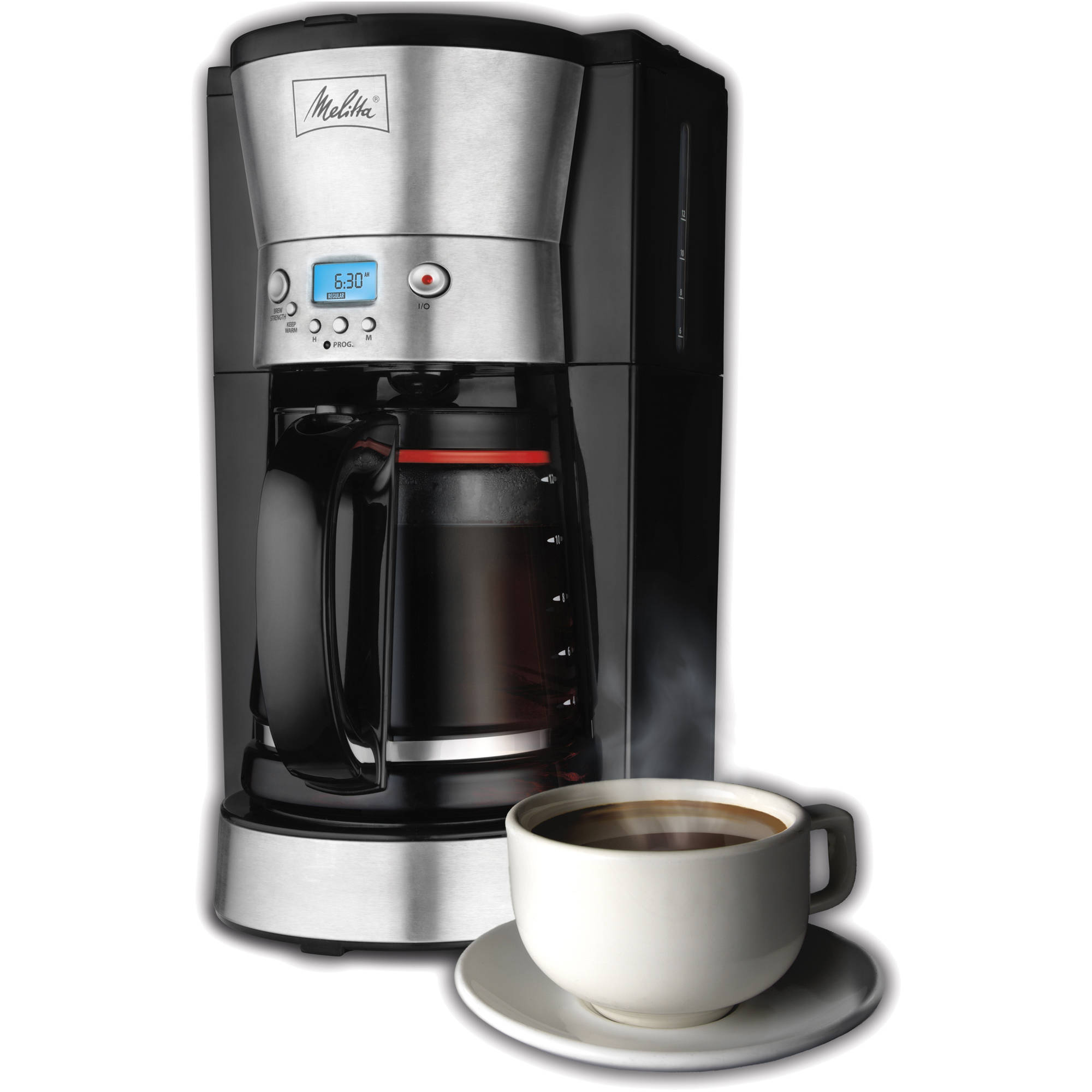 Melitta 12-Cup Coffee Maker, 46893, Black/Stainless Steel