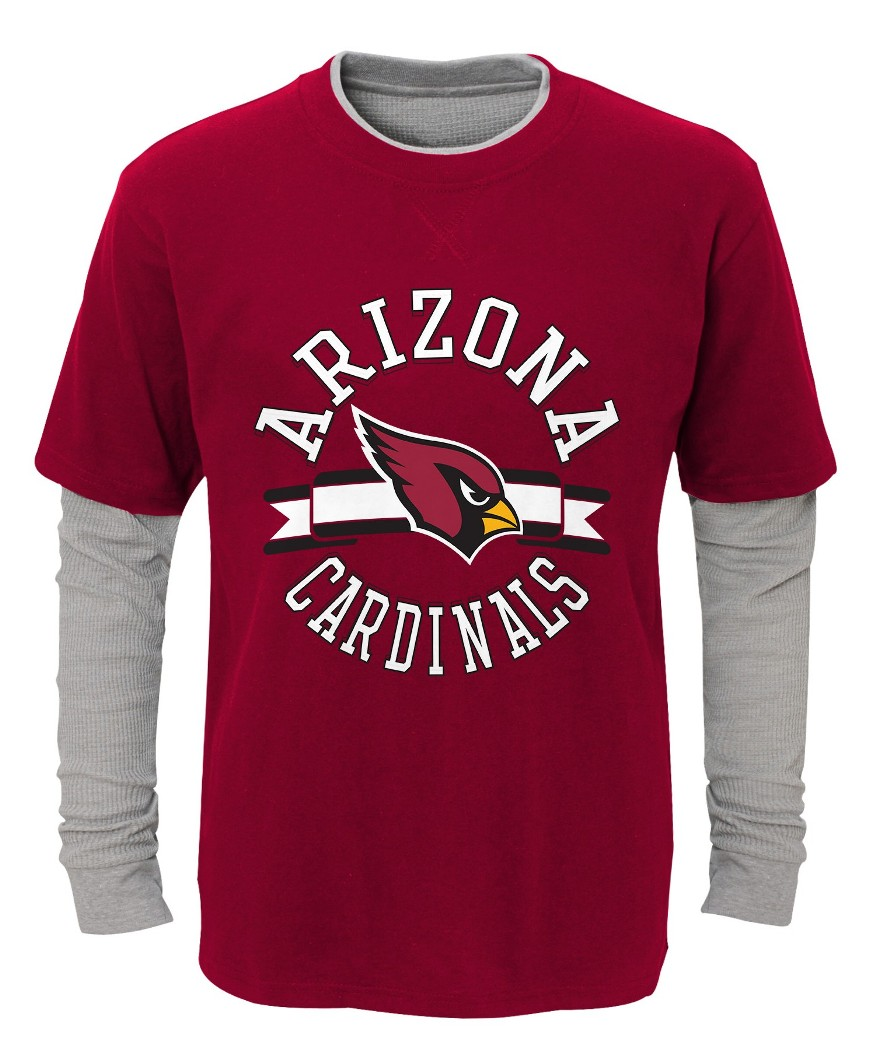 "Arizona Cardinals Youth NFL ""Definitive"" L S Faux Layer Thermal Shirt by Outerstuff"