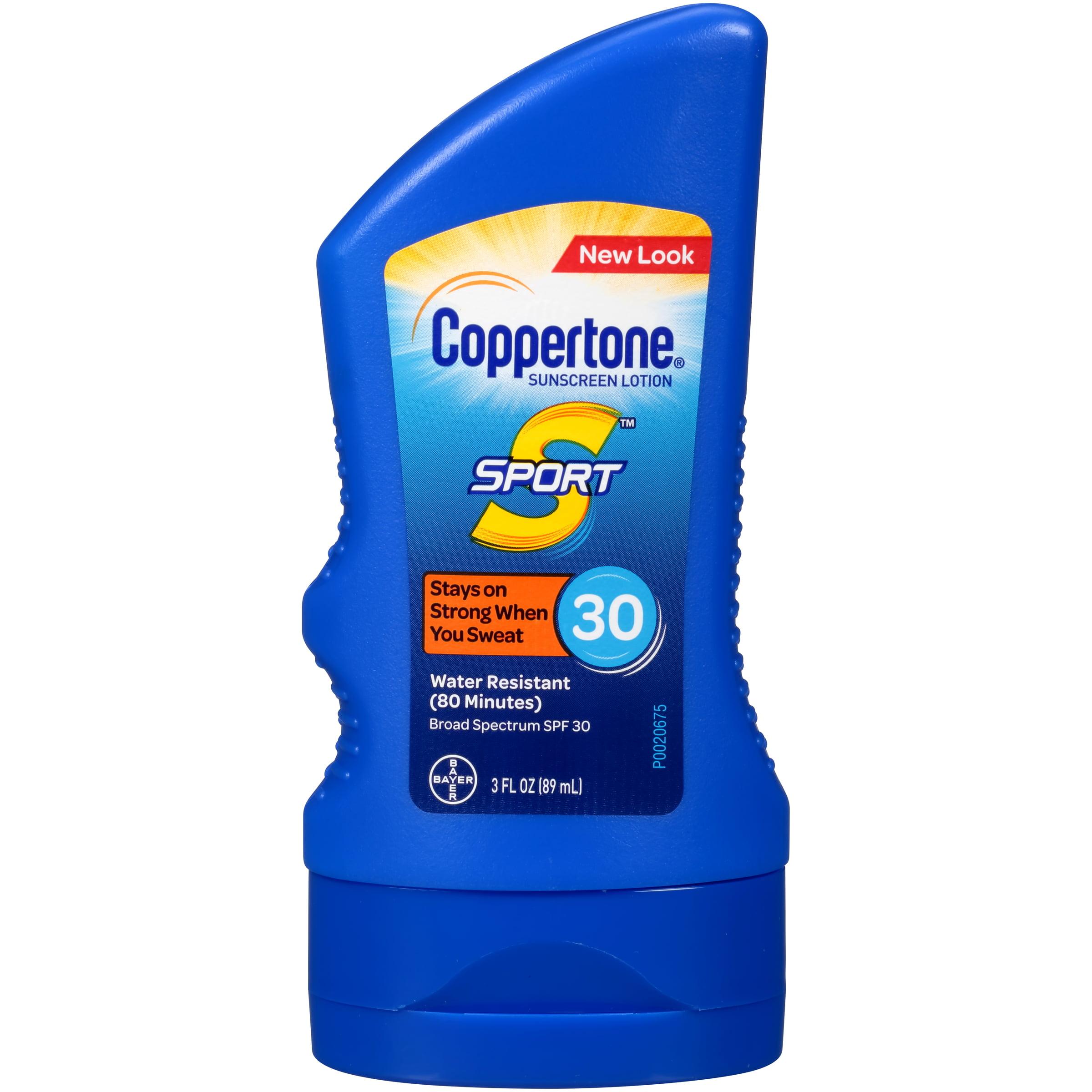 Coppertone Sport Sunscreen Lotion SPF 30, 3 fl oz Travel Size
