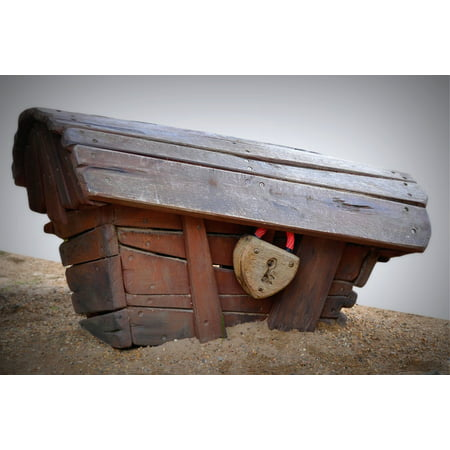Peel-n-Stick Poster of Treasury Sand Lock Wooden Box My Love Coffin Poster 24x16 Adhesive Sticker Poster Print](Wooden Coffin)