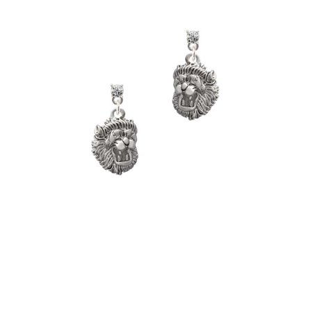 Silvertone Small Lion - Mascot Clear Crystal Post Earrings - Bowling Green Mascot