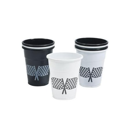 CHECKERED FLAG DISPOSABLE CUPS (50PC) (Checkered Flag Emoji)