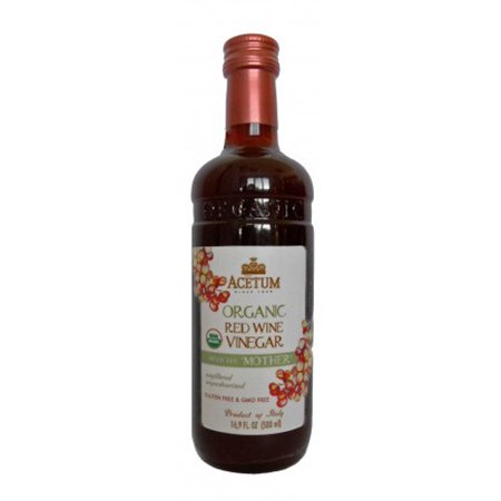 Almond Organic Wine - Acetum Organic Red Wine Vinegar with the 'Mother' - 16.9 oz
