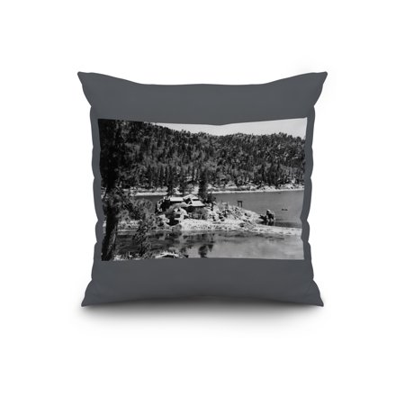 Big Bear Lake, California - View of Treasure Island - Vintage Photograph  (20x20 Spun Polyester Pillow, Custom Border)