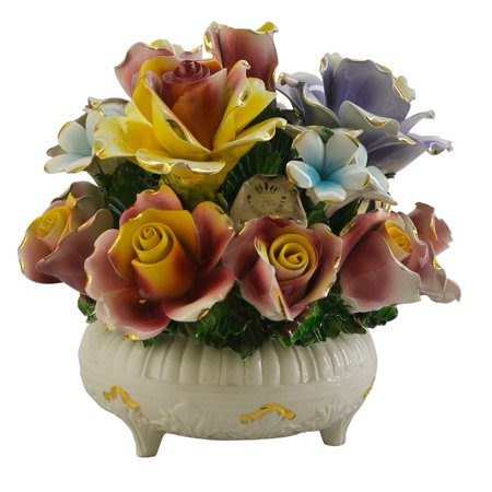 Three Star Authentic Italian Capodimonte round flower basket with candle holder