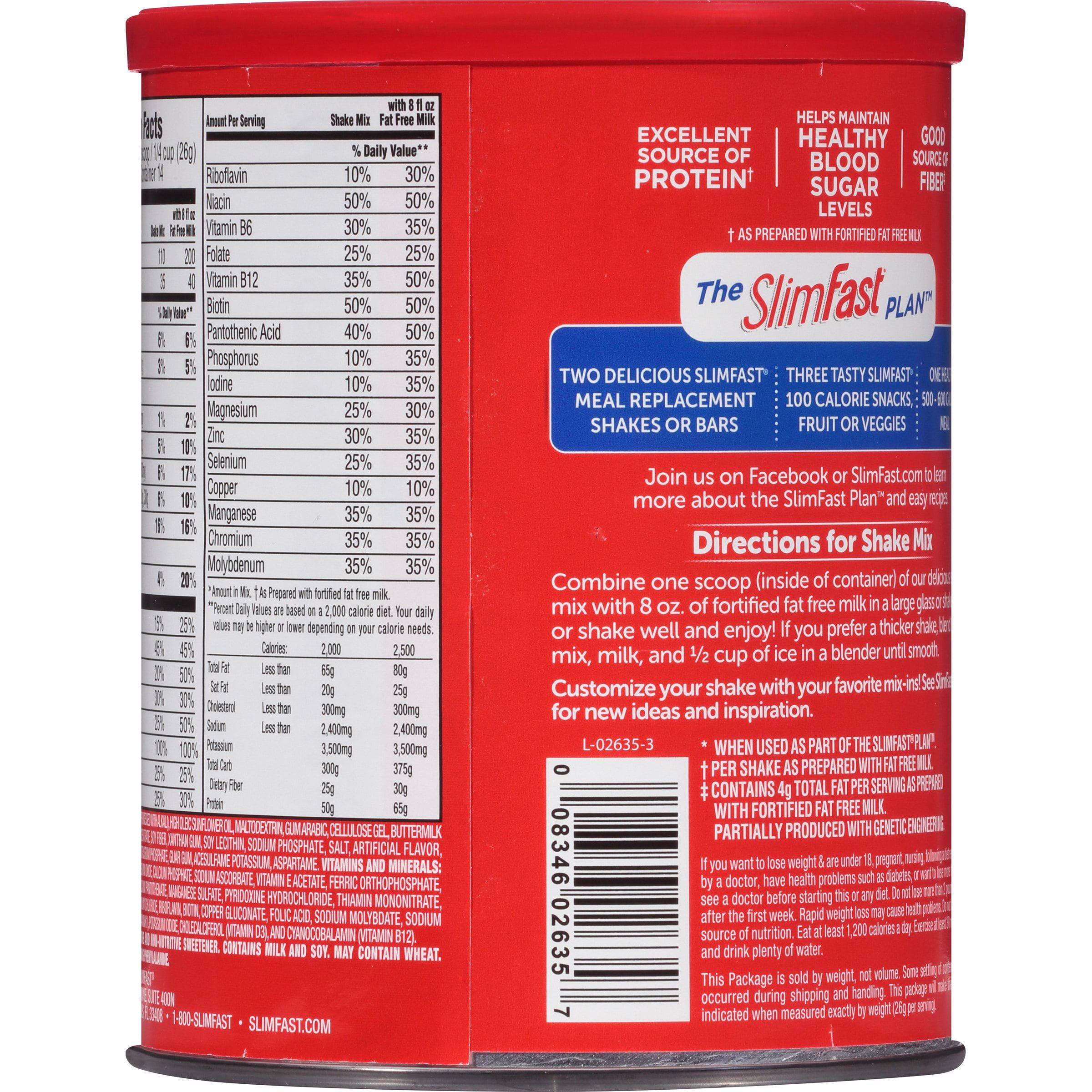 Slimfast Original Meal Replacement Shake Mix Rich Chocolate Royale, 1283 Oz  Walmart