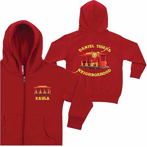 Personalized Daniel Tiger's Neighborhood Kids' Red Zip-Up Hoodie