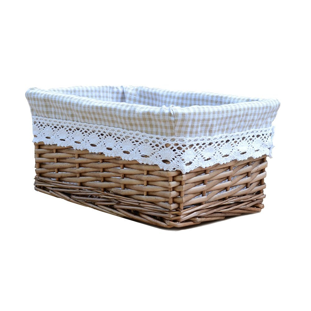 RURALITY Willow Wicker Storage Basket with Liner, Coffee Color