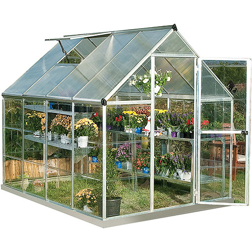 Palram Nature Series Hybrid Hobby Greenhouse, 6' x 8' x 7', Silver (Box 1 of 2) by Palram