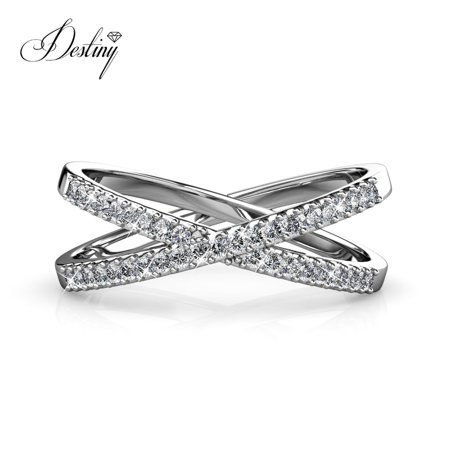 c08542348 Destiny Jewellery Crystals from Swarovski Ring with 18k White Gold Plated, Wedding  Engagement Charm X ...