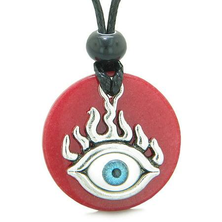 Quartz Medallion (Cool Evil Eye Protection Flames Amulet Red Quartz Medallion Magic Powers Adjustable Necklace)
