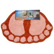 Store51 Llc 12440966 Foot Prints Pink-red Shaggy Accent Floor Rug Door Mat