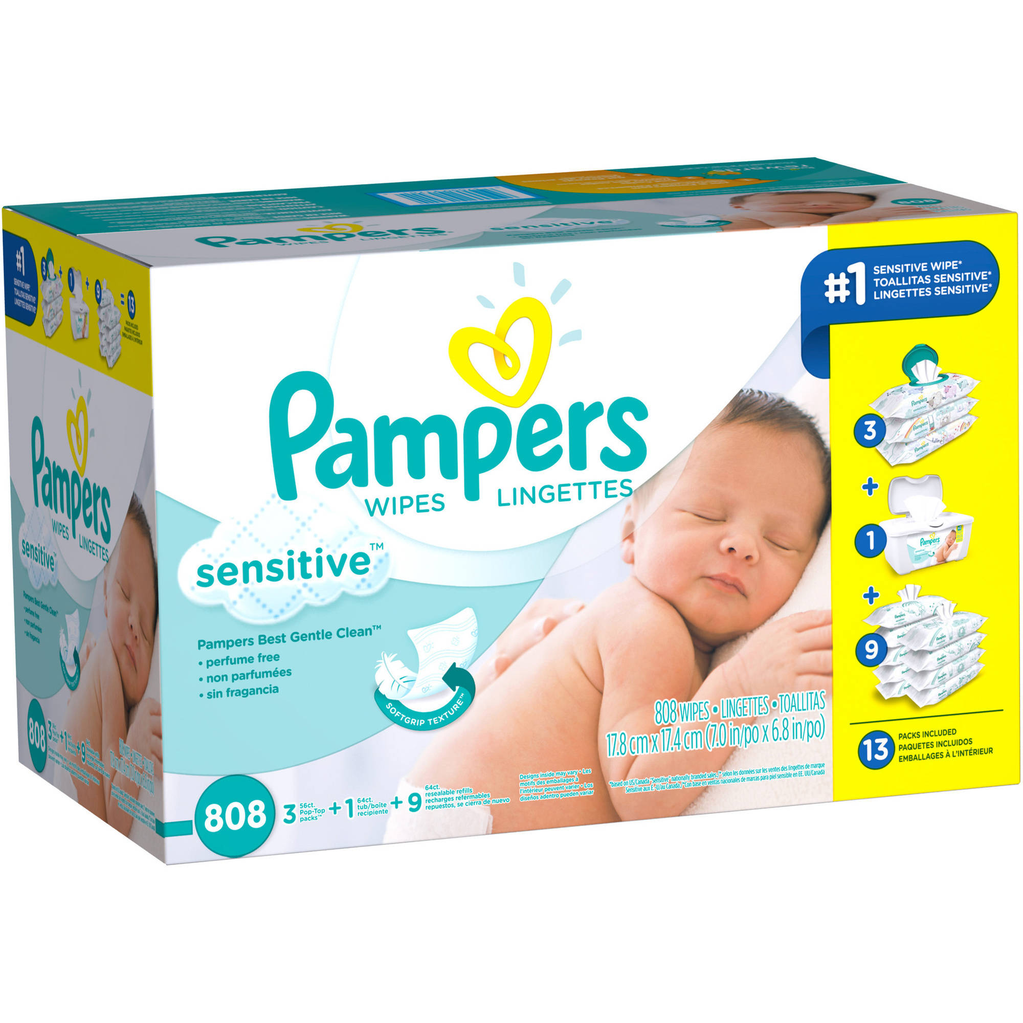 Pampers Sensitive Baby Wipes Multipack, 808 sheets