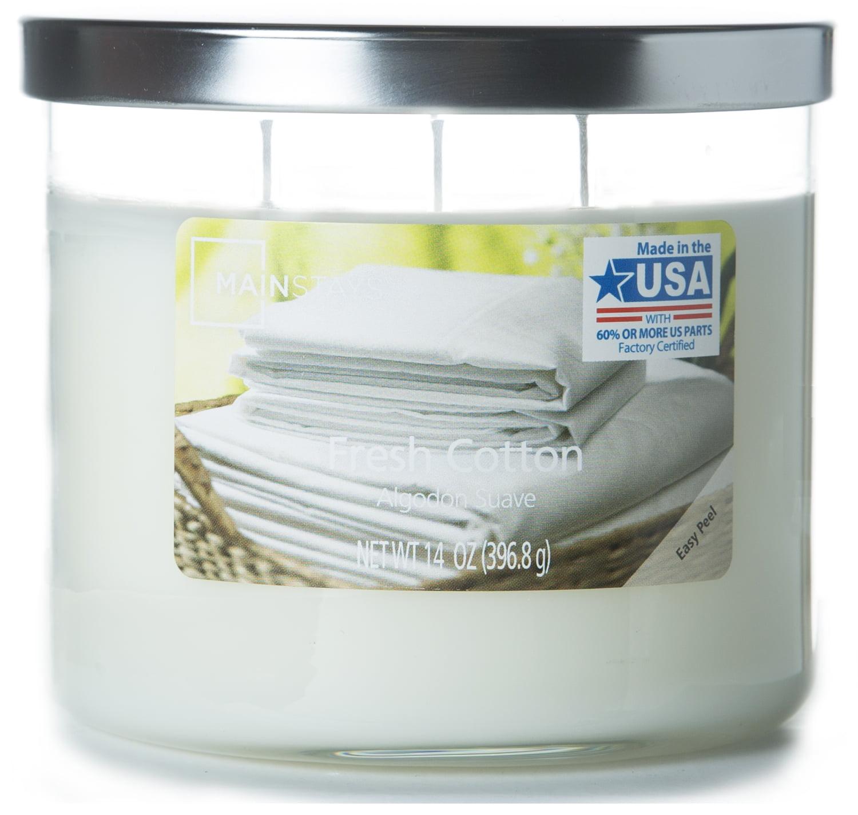 Mainstays Fresh Cotton Chrome Lid Jar 14oz