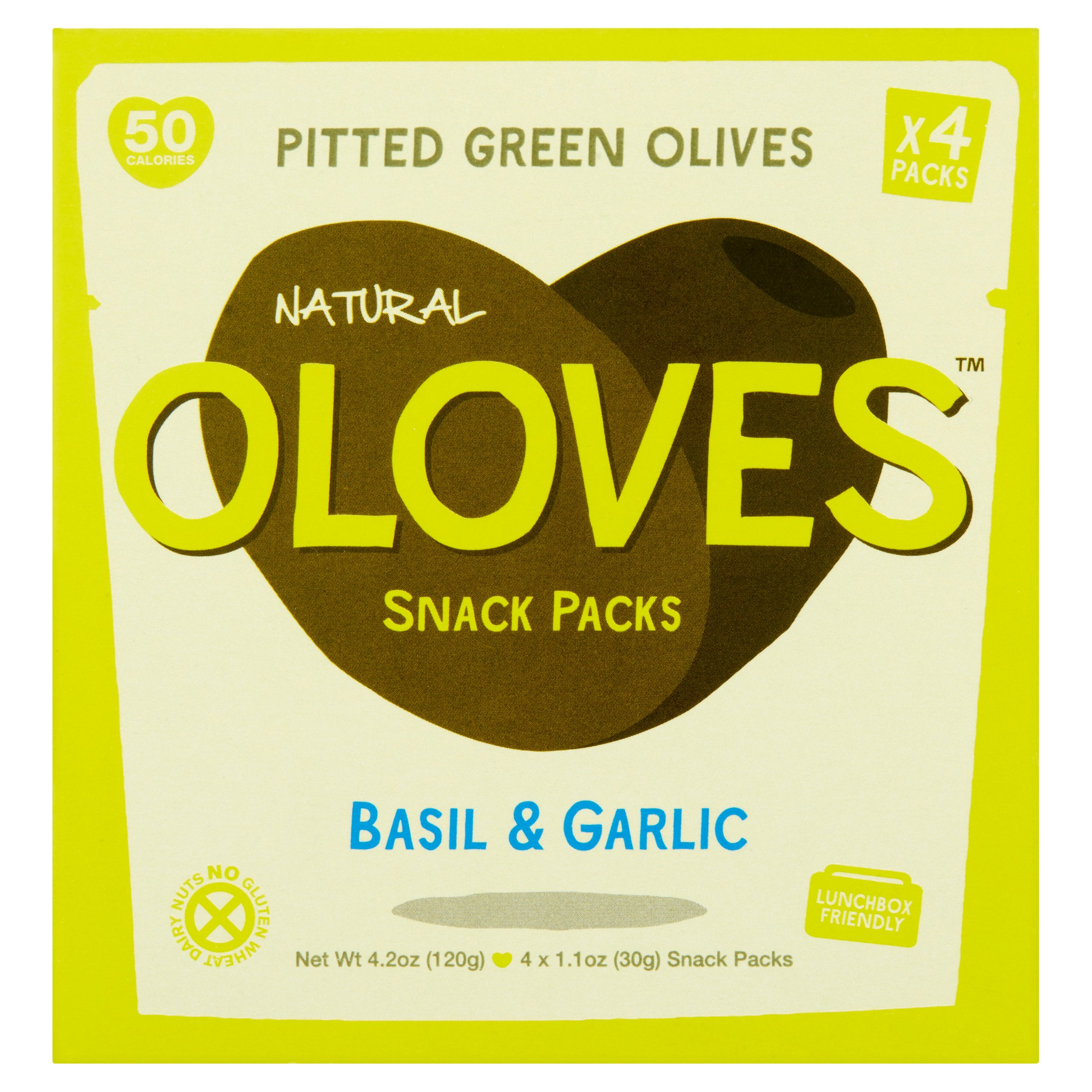 (8 Pack) Oloves Basil & Garlic Natural Pitted Green Olives Snack Packs, 1.1 oz, 4 count