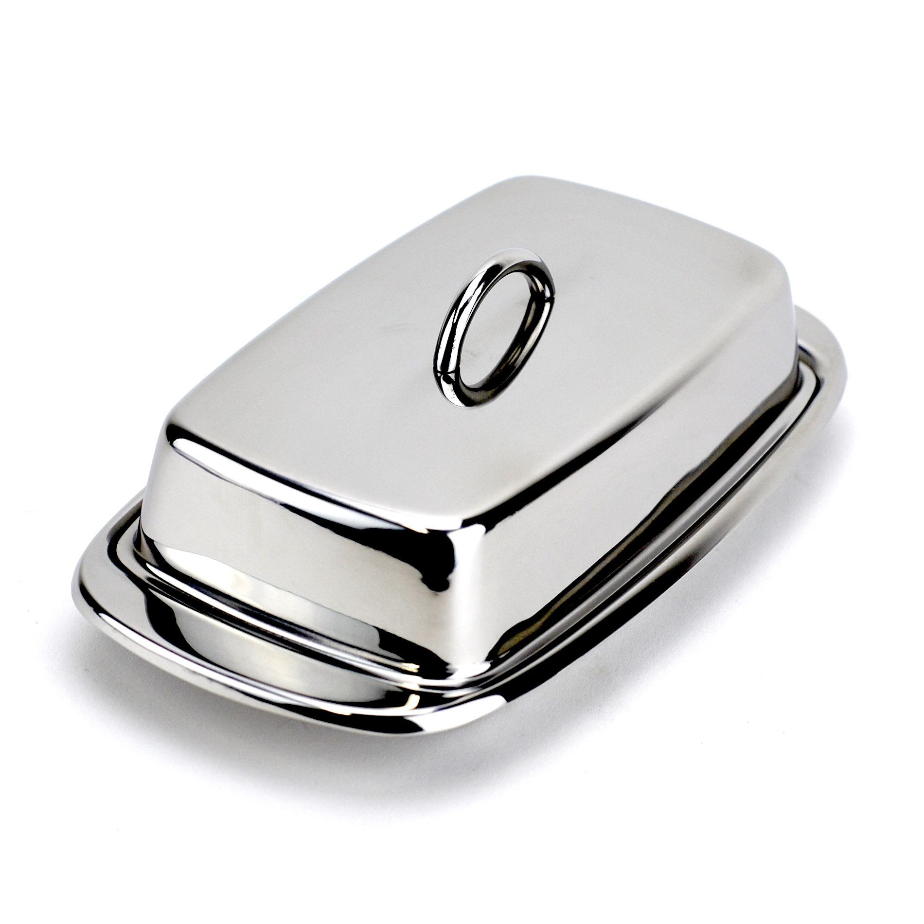 Butter Dish, Cute Stainless Steel Covered Butter Dish with Handle Lid, Silver
