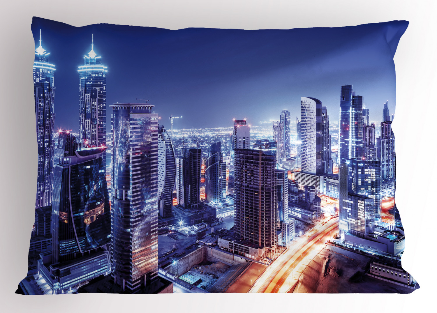 City Pillow Sham Dubai Downtown Uae Night Scenery Modern High Rise Buildings Travel Destination Decorative Standard Size Printed Pillowcase 26 X 20 Inches Violet Blue Orange By Ambesonne Walmart Com Walmart Com