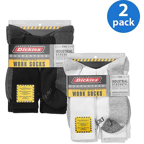 Dickies Men's Dri-Tech Comfort Crew Work Socks, 10 Pack